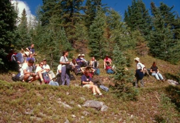 Students sitting hillside trees in background