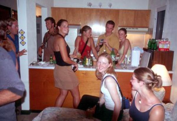 Students partying in hotel room