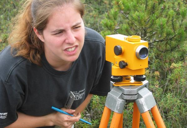 female student collecting data