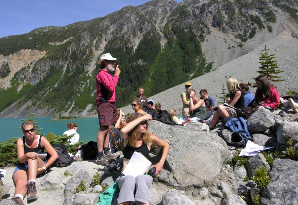 Students on hillslope listening to lecture by Ray Kostaschuk
