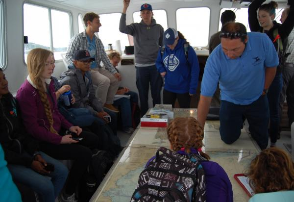 Students in cockpit of boat