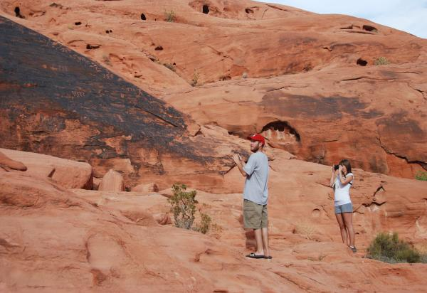Two students in red desert