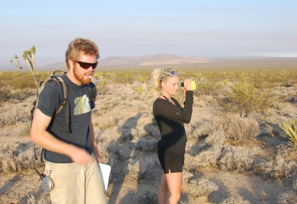 Two students in desert