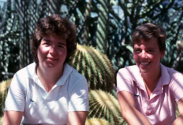 Two students in cactus garden