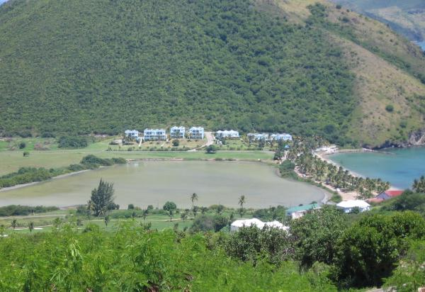 Arial view of hotel, mountain in background